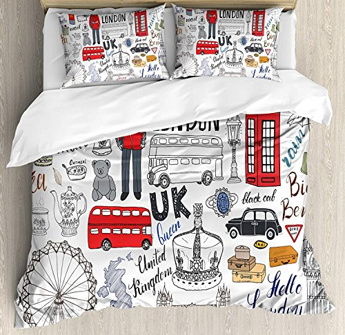 Anzona Full Size Doodle 3 PCS Duvet Cover Set, I Love London Double Decker Bus Telephone Booth Cab Crown of United Kingdom Big Ben, Bedding Set Bedspread for Children/Teens/Adults/Kids, Multicolor