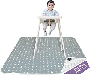 Splat Mat for Under High Chair-BORPRES Floor Mat with Silicone Bottom – Baby Mat for Art, Crafts,Playtime on Floor or Table, Lightweight and Soft ,48 x 48-inch,Arrow&Tree