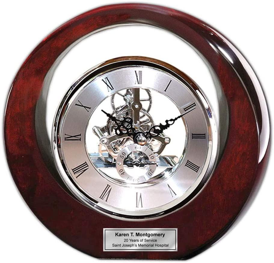 Executive Engraved Silver Gear Da Vinci Eclipse Dark Cherry Personalized Desk Clock Employee Recognition Service Award Wedding Anniversary Desk Clock Retirement Coworker Boss Colleague