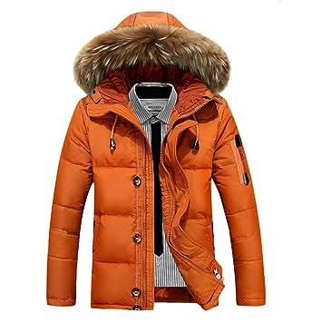 SRL Abrigos cálidos para Hombres Chaqueta de Invierno Grueso cálido Patchwork Cuello de Piel para Hombres