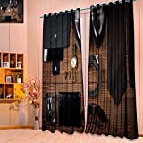 SeptSonne Thermal Insulated Window Curtains wood texture men s everyday objects on a dark background business meeting Set of Two Panels(W52'' x L63'' Pair)