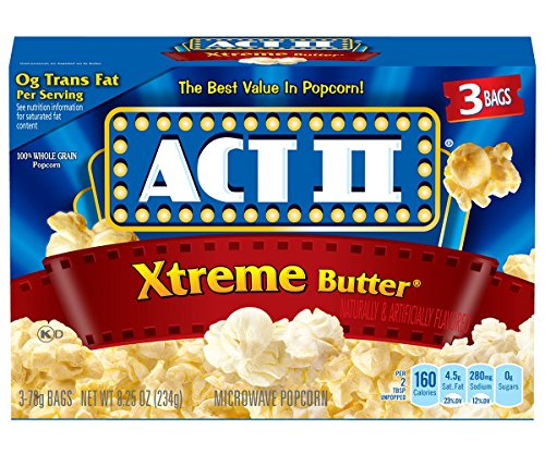 ACT II Xtreme Butter Microwave Popcorn Bags, 3-Count (Pack of 12)
