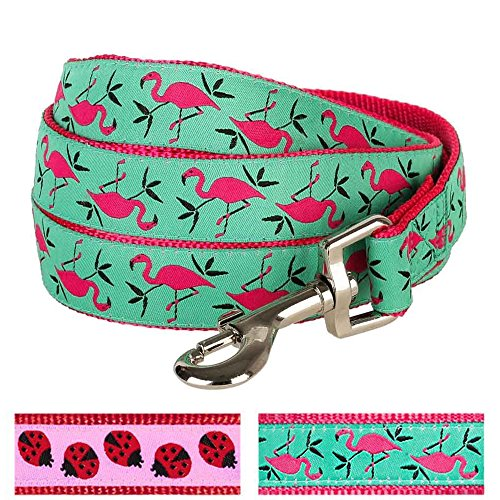 Blueberry Pet Durable Pink Flamingo on Light Emerald Dog Leash 5 ft x 3/4