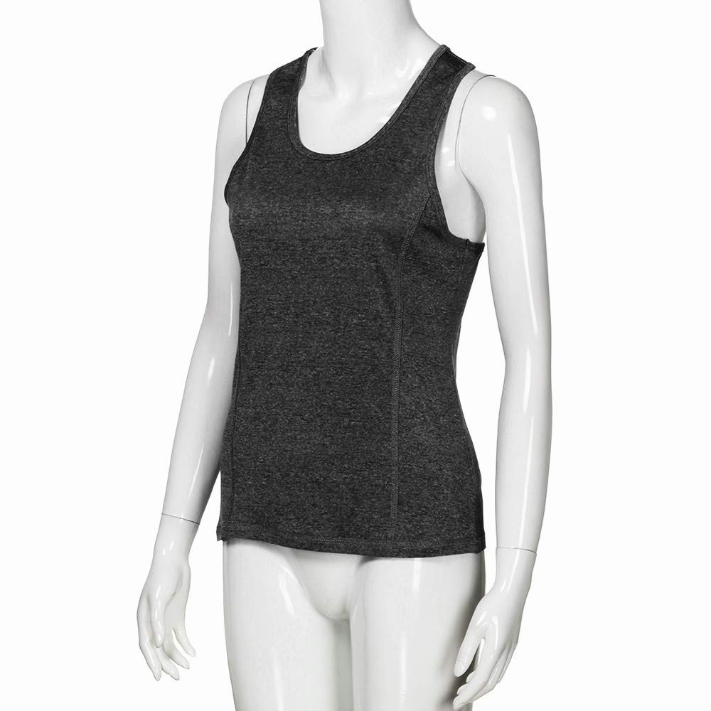 iLUGU Women Activewear Running Square Neck Vest Top Workouts Yoga Knit Hat Cami Sport Racerback Tank Sleeveless Blouse Shirt Black by iLUGU (Image #5)