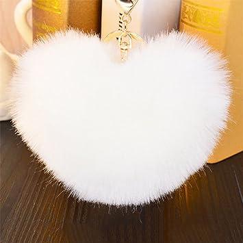 Amazon.com  Acamifashion Big Heart Shaped Soft Pom Pom Ball Keychain ... 69e3170eee