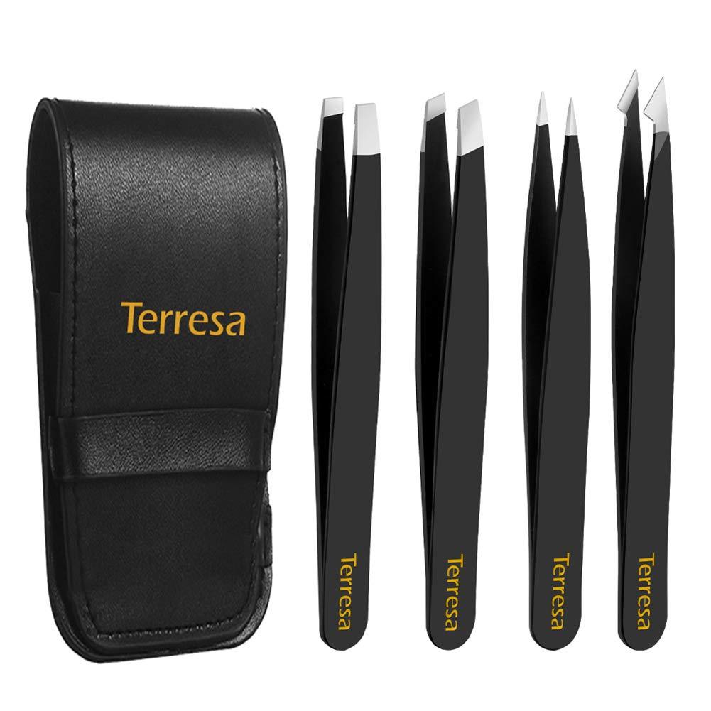 Eyebrow Tweezers, Terresa 4 Pack Stainless Steel Slant Tweezer Set and Pointed Hair Removal Tweezers, Precision Tweezers for Ingrown Hair, Eyebrows Plucking, Daily Beauty Tool for Women and Men(Black)