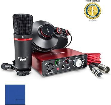 Focusrite Scarlett Solo Studio Pack Bundle (2 nd Gen) 2 en 2 Out + Micrófono CM25 MKII + auriculares HP60 MKII + Cable XLR 3 mt + Protools grabación interfaz audio 2ª generación Generation MKII: Amazon.es: Electrónica