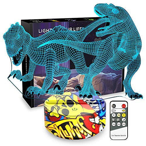 Night Lights for Kids Dinosaur Lamp 3D Kids Night Light 7 Colors Change Dinosaur Toys with Remote Control Christmas Birthday Gifts for Girls Boys Kids Baby Lover (Indoraptors)