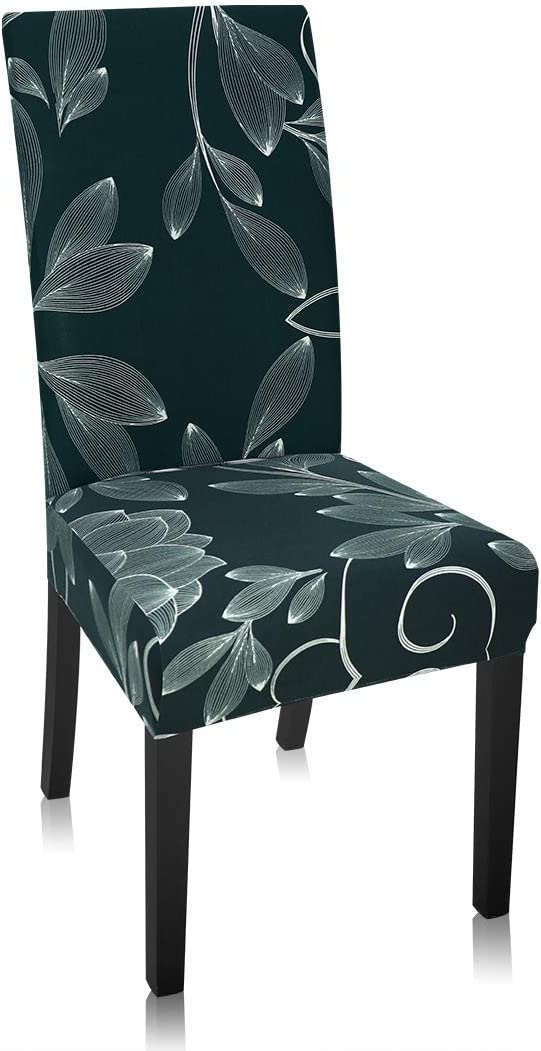 Stretch Dining Chair Covers, Ancient-Rhyme Floral Print Black Dining Chair Slipcover, Removable Washable Spandex Furniture Chair Protect Cover for Kitchen Hotel Table Banquet (4 Per Set, GY)