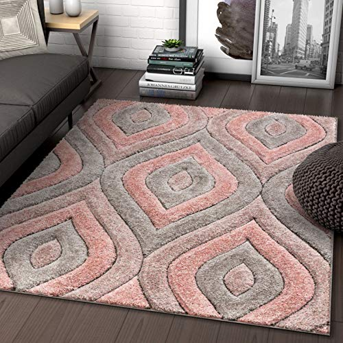 (Well Woven Moira Pink Geometric Trellis Thick Soft Plush 3D Textured Shag Area Rug 8x10 (7'10
