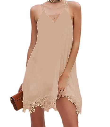 927036b1b6e6 Kankanluck Women s Cami Lace Summer Mini Chiffon Sexy Simple Sun Dress Khaki  S  Amazon.in  Clothing   Accessories