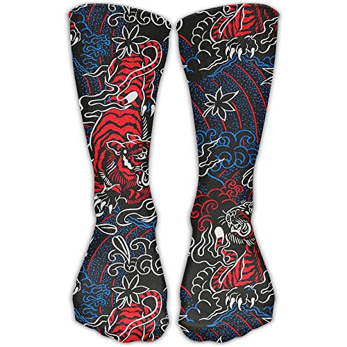 Tiger In Cloud Cotton Crew Sock Novelty Tube Socks 11.8 Inch Long For Adult Outdoor Workout Performance (Tigers Snowman)