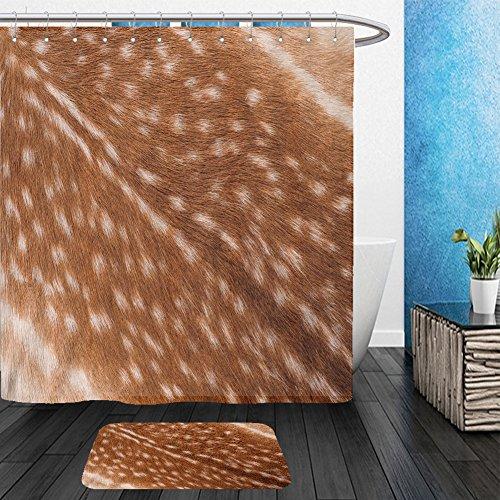 Vanfan Bathroom 2Suits 1 Shower Curtains & 1 Floor Mats texture of real axis sika deer fur 403662616 From Bath room - Echelon Echelon Shower Locker