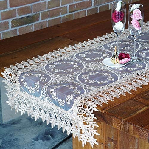 Table Runner Gold Embroidered Lace for Everyday Home Decor, Wedding, Engagement, Birthday, Banquet, Farmhouse, Party Decorations Luxury Vintage Modern (18Wx120L) -