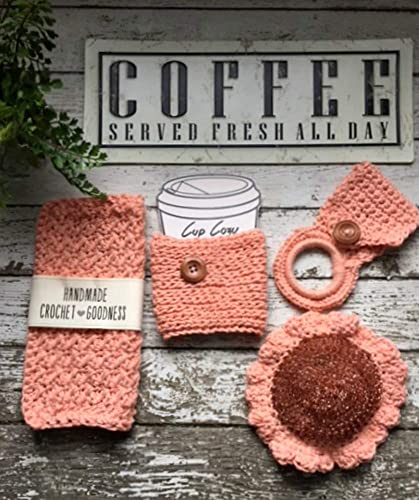 Amazoncom Handmade Crochet Dish Cloth Kitchen Set Coral Peach