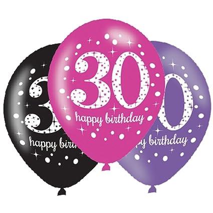 Amazon.com: Amscan – Globos (6 x 30º cumpleaños, celebración ...