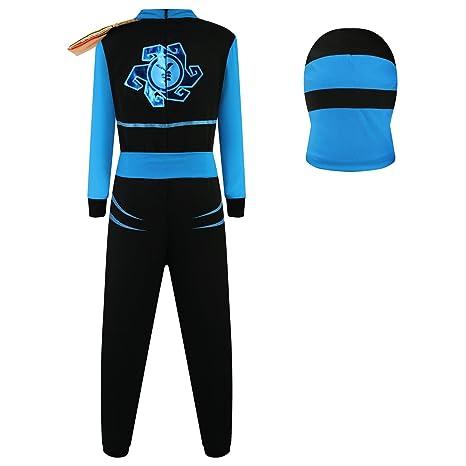 Katara Disfraz de Ninja Dragón para Niño Carnaval, Cosplay, color jay walker, azul, Talla L (8-10 años) (1771)