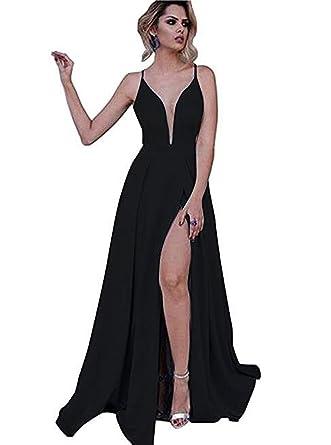 Dressesonline Womens V Neck Prom Dresses 2018 Long Split Formal