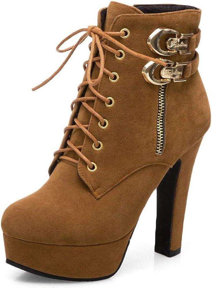 Luckycat Botas de Tacón Mujer Zapatos Altos Talones Scrub ...