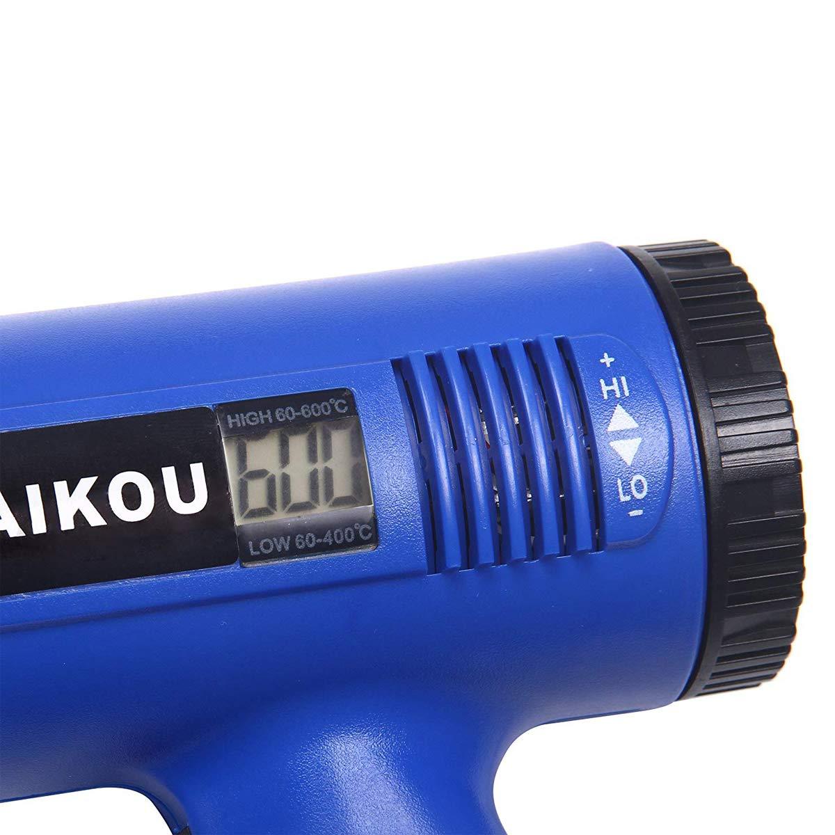 Pistola ad Aria Calda, 1800 W, Temperatura Regolabile in Continuo da 60° C a 600° C inclus LCD e 4 Pz Resistente al Calore Ugelli
