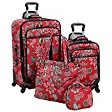 4 Piece Bohemian Floral Paisley Pattern Rolling Lightweight Expandable Carry On Luggage Set, Nature Boho Garden Flowers Themed, Softsided, Fashionable, Multi Compartment, Soft Travel Suitcases, Red