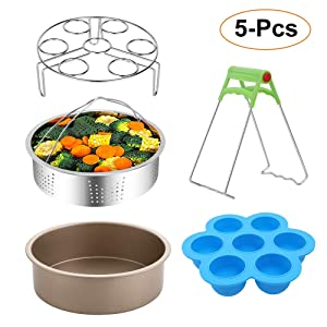 E-Gtong 5-PCS Pressure Cooker Accessories Set Compatible for Pressure Cooker 5,6,8 QT, 5-pcs included Stainless Steel Steamer Basket, Non-Stick Cake Pan, Egg Bites Molds, Egg Steamer Rack & Dish Clip