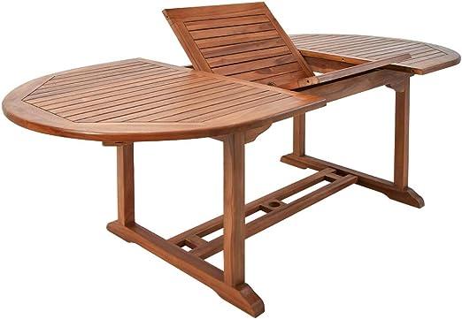 Deuba Mesa de jardín de Madera eucalipto VANAMO Mesa Extensible y Plegable con Soporte para sombrillas terraza: Amazon.es: Jardín