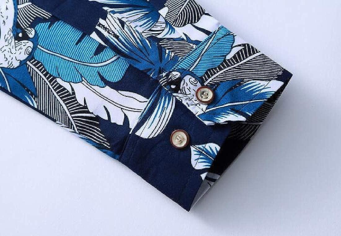 Zantt Mens Floral Printing Button Down Big /& Tall Long Sleeve Dress Shirt Top