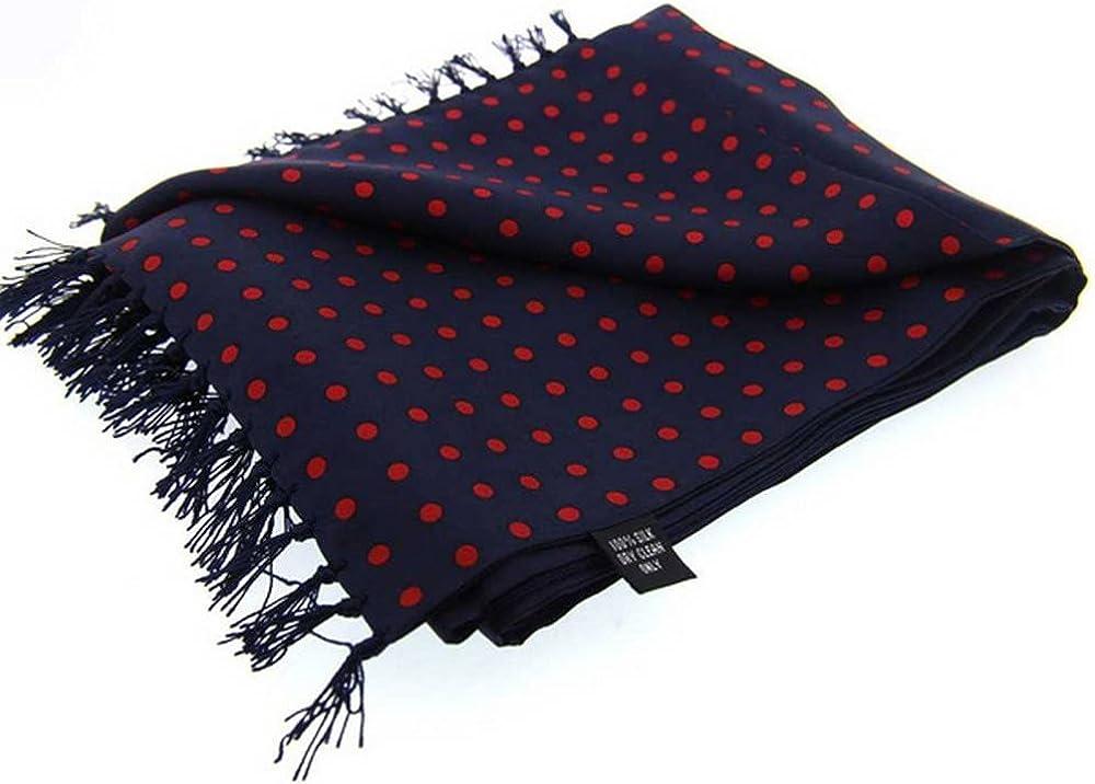Navy//Red David Van Hagen Mens Polka Dot Luxury Fashion Silk Scarf