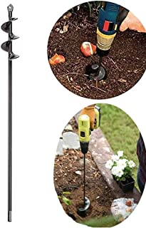"SuperThinker Auger Drill Bit, Steel Gardening Earth Auger Hole Digger for Planting Bedding, Bulbs, Seedlings (1.6""x17.5"")"