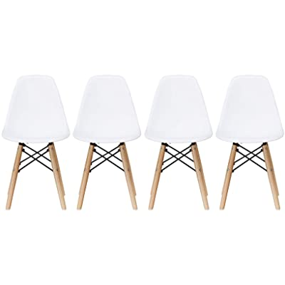 2xhome - Set of Four (4) - White - Kids Size Side Chairs White Seat Natural Wood Wooden Legs Eiffel Childrens Room Chairs No Arm Arms Armless Molded Plastic Seat Dowel Leg: Kitchen & Dining