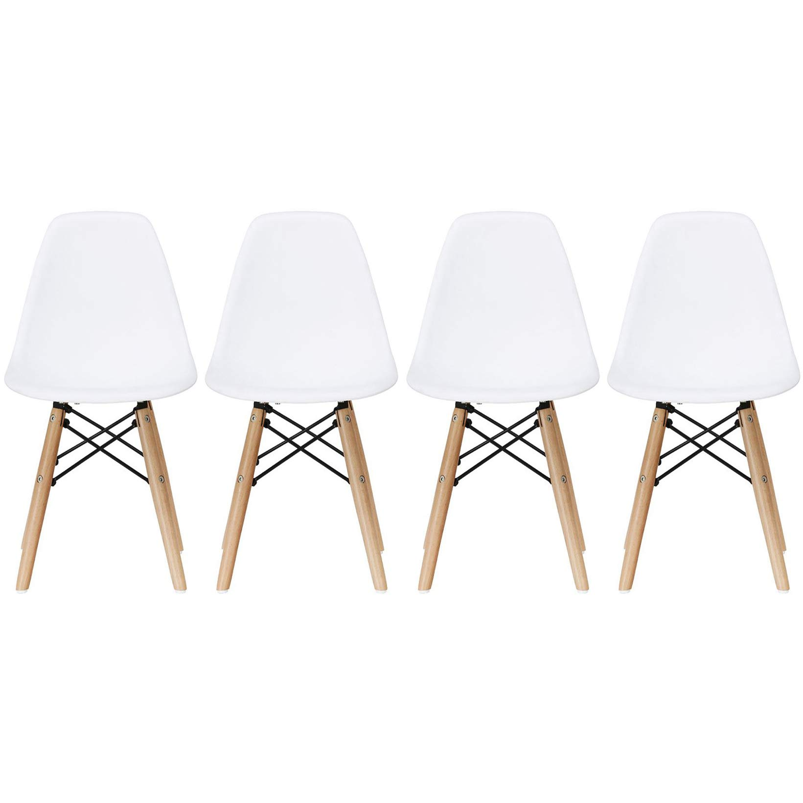 2xhome - Set of Four (4) - White - Kids Size Side Chairs White Seat Natural Wood Wooden Legs Eiffel Childrens Room Chairs No Arm Arms Armless Molded Plastic Seat Dowel Leg by 2xhome