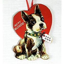 Boston Terrier Valentine Ornament Handcrafted Wood, Dog Lover Gift, Puppy Magnet Pin, Sweetheart Card, Package Decoration Wine Tag Vintage