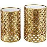 Linon AMZN0341 Alina Set of Two Round Nesting Tables, Gold