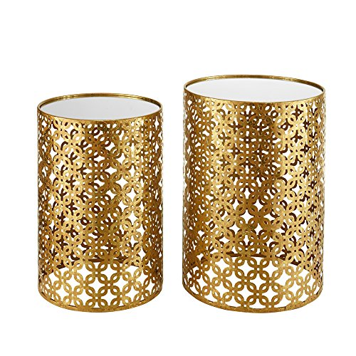 (Linon AMZN0341 Alina Round Nesting Tables (Set of 2), Gold )