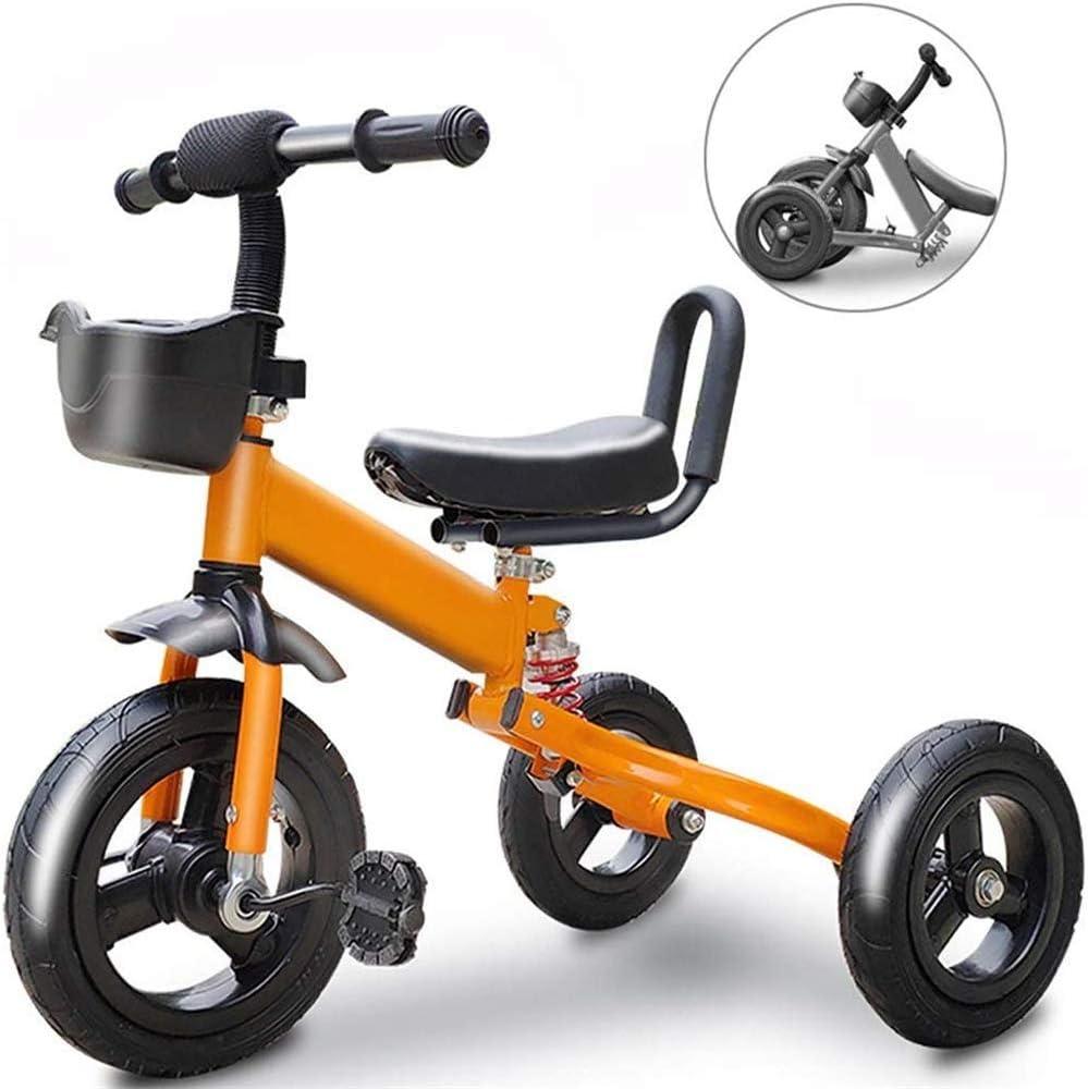 AJH Bicicleta de niños triciclos Niños Bicicleta Plegable Triciclo Kid Tobillo Bicicletas Salir para portátil y Plegable de Seguridad Adecuado para 1/3/6 años KidsCar