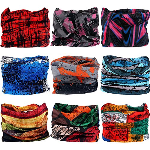 Multifunctional Stretchable Sport & Casual Headwear, Headband Scarf Bandanna Headwrap Mask Neckwarmer & More 12-in-1, 9PC.Painting Series