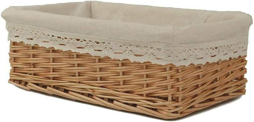 Empty Gift Basket for Nuts Candy Food Wicker Woven Basket with Lining