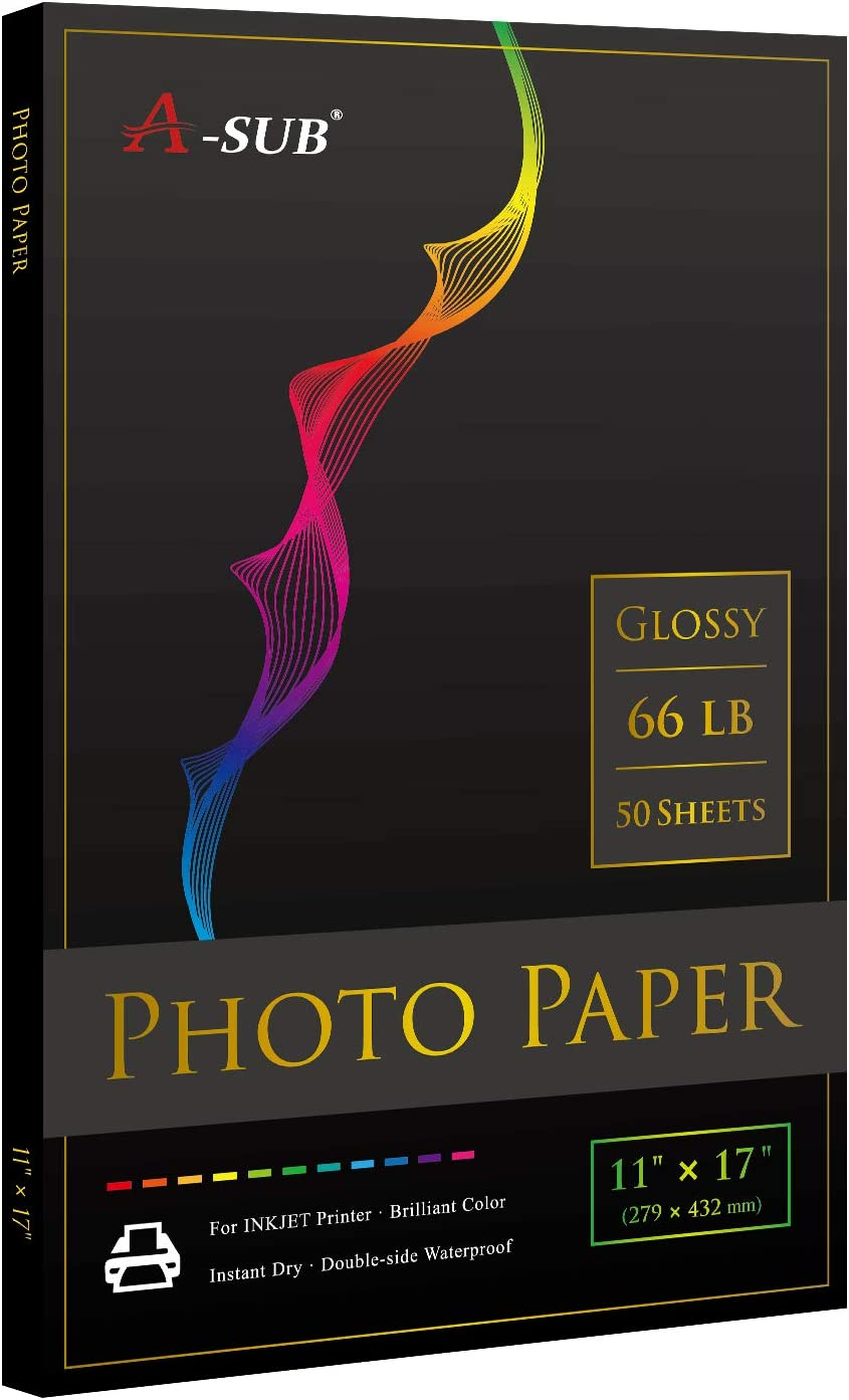 A-SUB Premium Photo Paper High Glossy 11x17 Inch 66lb for Inkjet Printers 50 Sheets
