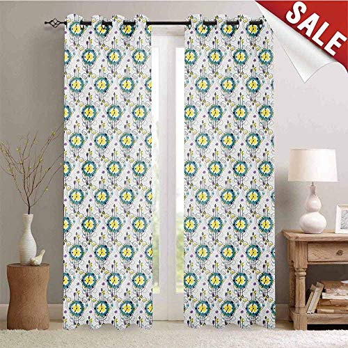 (Hengshu Tattoo Decorative Curtains for Living Room Abstract Clocks in Boho Style with Watercolor Dots Timekeeper Horologe Waterproof Window Curtain W84 x L96 Inch Turquoise Yellow Purple)
