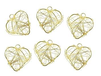 Unbekannt 6 Herzen Draht Gold Silber Pink Turkis Streudeko Tischdeko
