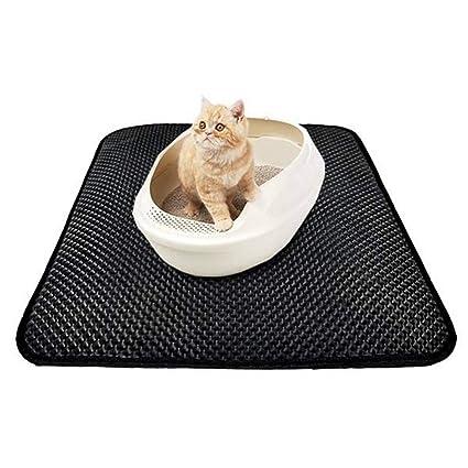 WSJAMA Colchoneta de Arena para Gatos Estera de Arena para Gatos Doble Almohadilla de alimentación Transpirable