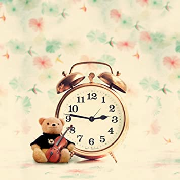 Amazon.com : 8 x 8 ft Funny Golden Alarm Clock Photo Background with Music Cartoon Bear Vintage Pink Green Ink Painting Flowers Nude Backdrops Wall Boys ...