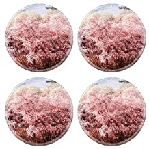 MSD Natural Rubber Round Coasters IMAGE ID: 35119443 Pink flower on the mountain