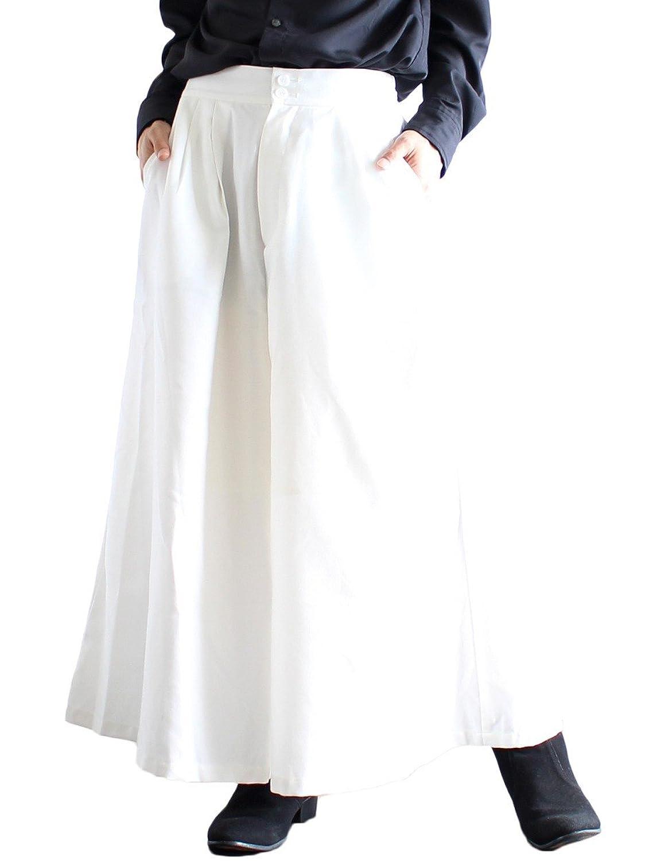 (アルビノ) albino タック デザイン 2 ボタン スカート パンツ B01LHDSYWO  ホワイト Free