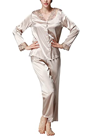 a8255bc6d8b TieNew Womens Satin Silk Long Sleeve Sleepwear Nightwear Pajama Set ...
