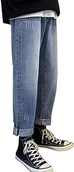 [チューカー] ジーンズ メンズ デニムパンツ ワイド ロング丈 ストレートパンツ デニム ファッション オシャレ 無地 通学 シンプル ズボン ストレッチ 秋 冬 通勤 通学