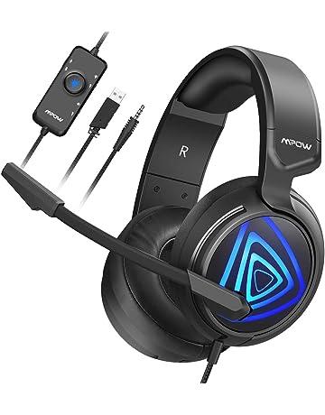 Cascos Gaming PS4 LED, Mpow-318 Sonido Envolvente, Auriculares Gaming PC, Micrófono