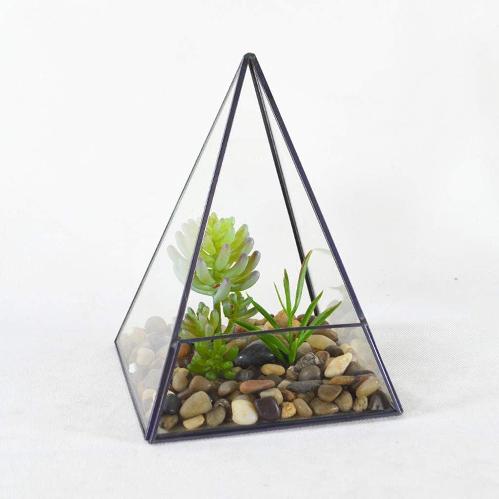 Huwaioury Caja de almacenamiento de cristal dise/ño de pir/ámide negro