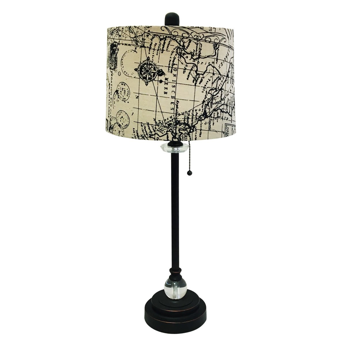 Royal Designs 28'' Crystal and Oil Rub Bronze Lamp with Vintage Map Postcard Design Drum Hardback Lamp Shade